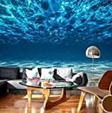 Papel de pared fotográfico personalizado Paisaje de aguas profundas 3D Papel tapiz mural grande Decoraciones de pared Sala de estar Dormitorio Papel tapiz para paredes 3D-140cmx100cm...