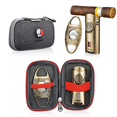 Cigar Cutter and Lighter Set Sharpening Blade Engraved Cigar Guillotine Lighter Torch with Stand Windproof Single Torch Butane Refillable Scorch Lighters