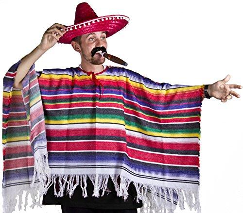 MEXICAN PONCHO SOMBRERO & TASH WESTERN FANCY DRESS COSTUME MENS LADIES ONE SIZE S-XL (disfraz)