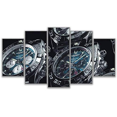 Aymsm Custom HD canvas printed painting 5 piece wall art, Watches,Wrist Watch