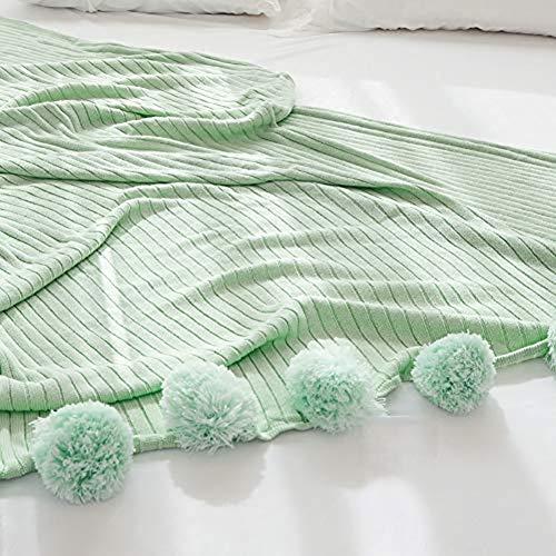 Gebreide Throw Blanket, Katoen Warme Zachte Bed Bankstoel Deken Sprei Met Pompoms Licht Groen 150X200 (59X79inch)