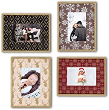 Ohana Avenue 4x6 Picture Frame - Christmas Frame Set of 4 - Tabletop & Wall Mount Gold Edge Wood Photo Frames for Christmas Pictures - Perfect for Baby's First Christmas & Christmas Photos