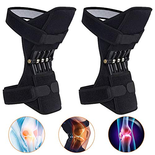 YLOVOW 2 Packungen Knieorthese Joint Support, Power-Knie-Stabilisator-Pads Protektoren Booster Mit Leistungsfähigem Federn Für Männer/Frauen Schwache Beine, Arthritis, Meniskusriss Schmerz