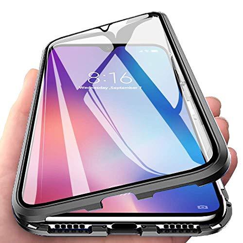 Orgstyle Kompatibel mit Samsung Galaxy A50 / A50s / A30s Hülle Magnetische Hartglas Hülle mit Vorderseite & Rückseite, Metallrahmen Hülle mit Eingebaut Magnet 360 Grad Handyhülle, Schwarz