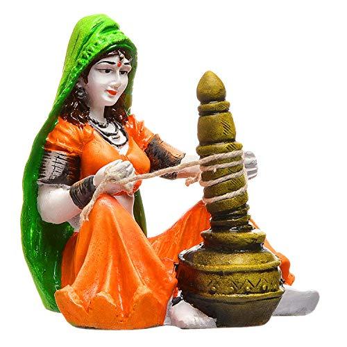 20.19 cm x 14.81 cm x 10.39 cm Rajasthani Lady with Chaas Polyresine Showpiece