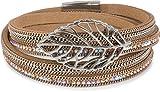 styleBREAKER Wickelarmband mit Strass und Ketten, Blatt Anhänger, Magnetverschluss, Armband, Damen 05040069, Farbe:Hellbraun