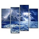 Lienzo decorativo para pared, diseño de nubes oscuras sobre el mar antes de la tormenta, con iluminación (4 piezas, estirado y enmarcado), diseño de giclée