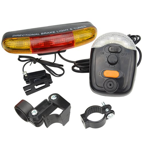 XLX Multifunctional 7 LED Bicycle Turning Light Bike Tail Lamp Electric Horn Brake Lamp for Safe Cycling Hiking Outdoor