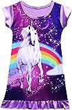 Girls Unicorn Nightgown Sleep Shirts Printed Star Rainbow Nightshirt Casual Nightie Princess Night Dresses,Grsy-purple-S120