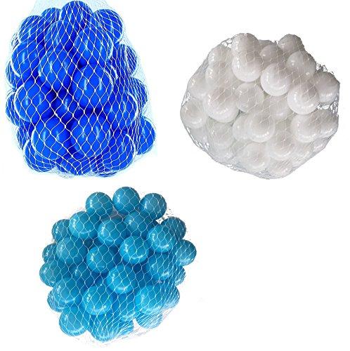 2100 Bälle für Bällebad gemischt mix mit türkis, weiß und blau