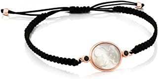 White Mother-of-Pearl and Spinel Camee Black Cord Bracelet