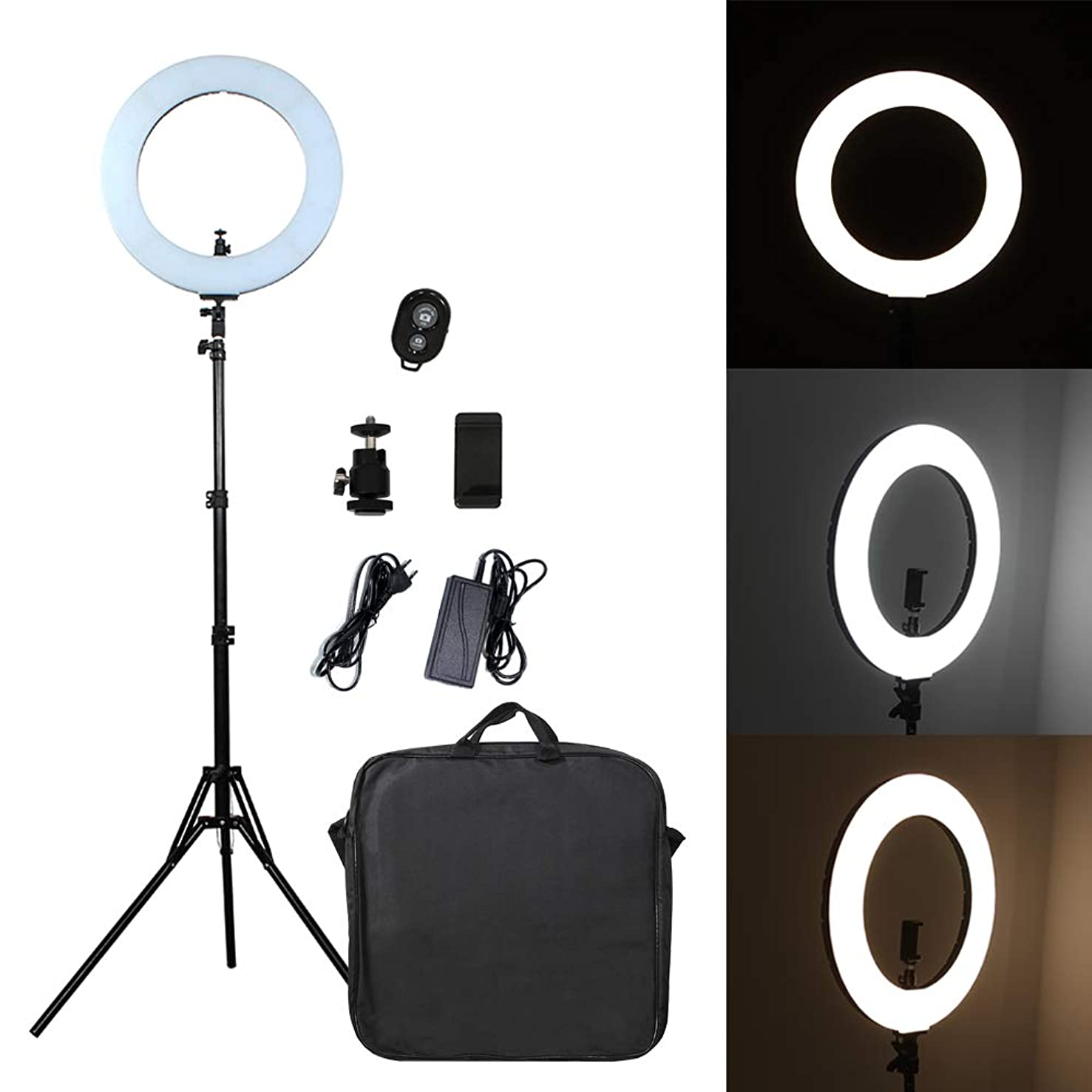 Pixco Outdoor 18 inches Ring Light Kit, 60W 480 Beads Bi-Color Dimmable SMD Halo Light, Color Temperature 3000K-6000K, for Smartphone, Portrait, Makeup, YouTube Video, Live Stream