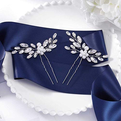 Fairvir Brautschmuck Hochzeit Haarnadeln Silber Blume Kristall Haarnadel Strass Perle Braut Haarschmuck für Frauen und Mädchen (2 Stück)