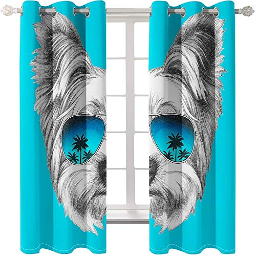 AmDxD 2 paneles de tela de poliéster, cortinas opacas Yorkshire Terrier con gafas de sol, cortinas de ventana, cortinas lavables a máquina, azul gris, 104 pulgadas de ancho x 54 pulgadas de largo