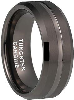 iTungsten 6mm 8mm Black/Gold/Gunmetal/White Tungsten Carbide Rings for Men Women Wedding Bands Matte Finish Beveled Edges ...