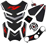 REVSOSTAR 5D Real Carbon, Motorcycle Gas Tank Protector, Tank Pad Sticker, Tank Cap, Fuel ...