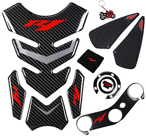 REVSOSTAR 5D Real Carbon, Motorcycle Gas Tank Protector, Tank Pad Sticker, Tank Cap, Fuel Cap Decal, Triple Tree Front End Upper, Side Traction Pad, Anti Slip sticker for YZR1 04-06, 6 Pcs Per Set
