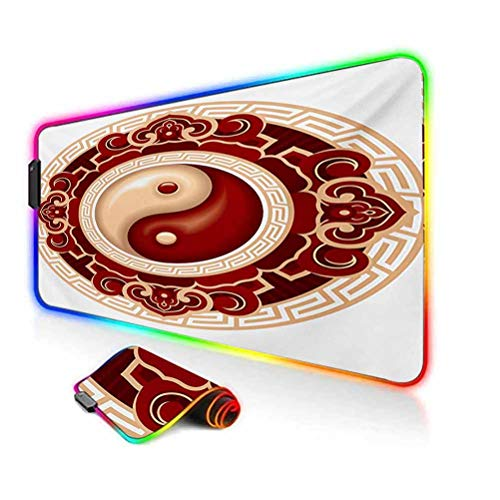 RGB Gaming Mouse Pad Mat,Traditional Cultural Symbol Floral Ornamental Patterns Balance Zen Computer Keyboard Desk Mat,35.6'x15.7',for MacBook,PC,Laptop,Desk Maroon Cream White