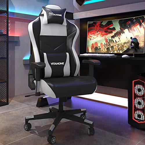 YITAHOME Gaming Stuhl Bürostuhl Racing Stuhl, Ergonomischer Schreibtischstuhl mit hoher Rückenlehne, Einstellbare Armlehne, PU-Leder mit Massage Lendenwirbelstütze, Schwarz-Werß