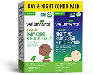 Wellements Cough & Mucus (Organic Baby Cough 2 Pack (Day & Night), 2 oz. Day and Night Formula) Free from Dyes, Parabens, Preservatives
