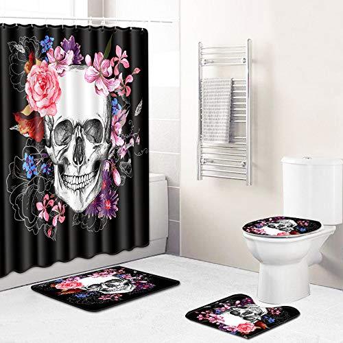 3D Badezimmer Dusche 4 Stück Set,Bunte Blume Totenkopf Muster,Duschvorhang Mit 12 Ringe + Bad Matte+ Rutschfeste Teppich+Toilettenbezug,Wasserdicht, Anti-Schimmel-Effekt,Passt Für Alle Übliche