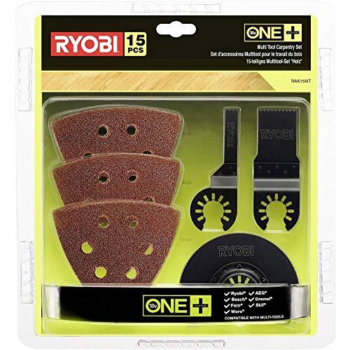 Ryobi 5132002809 Holz RAK15MT, Zubehör-Set für Holzbearbeitung, Multitool RMT1801M, inkl.Holz-Tauchsägenblätter und Schleifpapier, 15-teilig