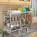 Kurtzy 304 Stainless Steel Over The Sink Space Saving Dish Drainer Storage Organizer Rack for Kitchen Utensils-60 x 28 x 60 cm