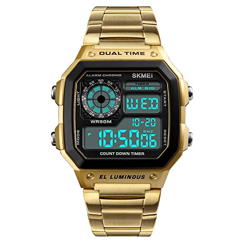 SKMEI Sport Edelstahl Herrenuhr Digital Backlight Mann Armbanduhr Männlich Chronograph Armbanduhr (Gold-1)