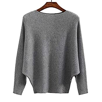 Ckikiou Women Sweaters Batwing Sleeve Casual Loose Cashmere Jumpers Winter Pullovers  Gray