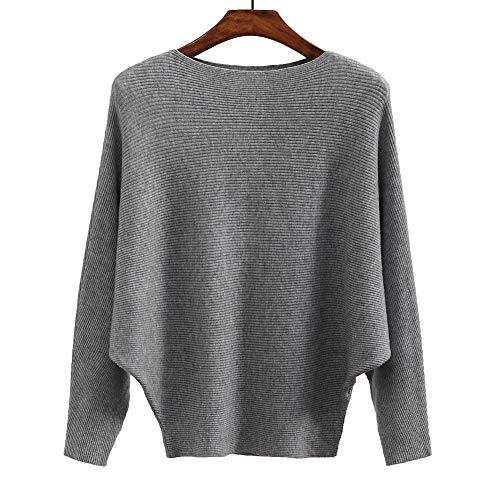 Ckikiou Women Sweaters Batwing Sleeve Casual Loose Cashmere Jumpers Winter Pullovers (Gray)