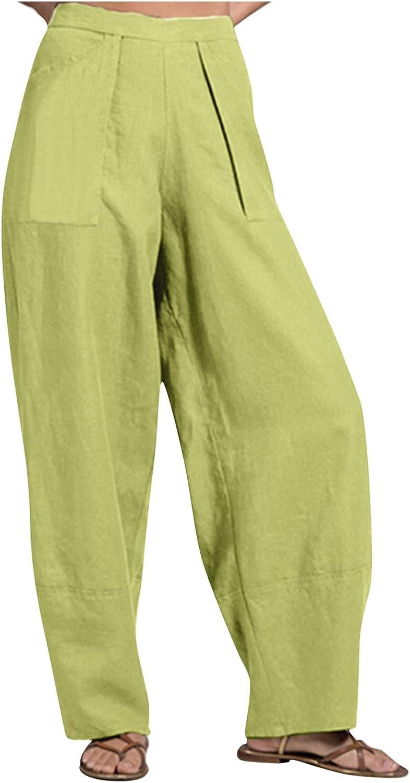 WOCACHI Wide Leg Pants for Women Elastic Waist Solid Color Linen Casual Pant Trousers Loose Capris Pants with Pocket