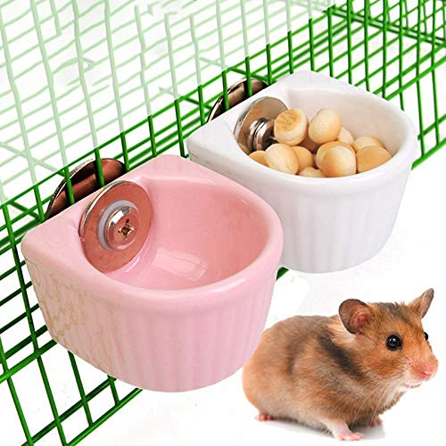 Hamster Food Bowl, Detachable Cage Feeder, Ceramic - Rabbit Food Dish and Water Bowl for Bunny Guinea Pig Gerbil Ferret Syrian Hamster Parrot Chinchilla (2...
