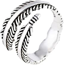Hosaire Ring Women's Feathers Open Adjustable Ring Vintage Retro Silver for Women's Jewelry