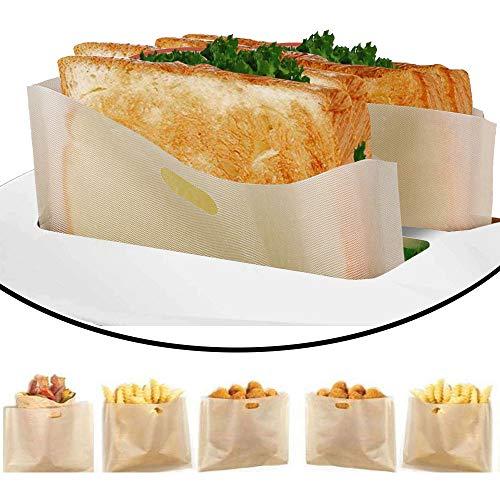 DECARETA 6 Stück Toaster Bags Wiederverwendbar Toasterbags Hitzebeständig Antihaft Toasterbeutel Teflon Toaster Beutel Sandwich beutel für Käse-Sandwiches Würstchen Pizza