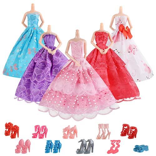 AiteFeir Abiti Barbie 15 Articoli Inclusi 5 Pezzi Abbigliamento Casual Moda, 1 Abito da Sposa con 10 Paia di Scarpe per Barbie Doll Christmas Xmas Gift Christmas Xmas Gift