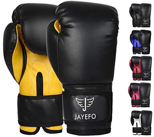 JAYEFO Beginners PRO Model Leather Boxing MMA Muay Thai Gloves {Punching Bag Gloves}{Kickboxing Gloves} {Sparring Gloves} MMA Gloves Bag Gloves (Black-Yellow, 4 OZ)