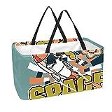 Bolsa de comestibles reutilizable grande, resistente bolsa de compras con parte inferior reforzada y asa (divertido estampado de cohete espacial)