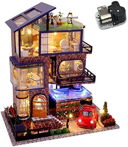 Feeyond Casa de muñecas de Villa de elevación de Cuatro Pisos con música y Coche de Juguete DIY Montaje de construcción en Miniatura casa de Madera Modelo de Rompecabezas para niños