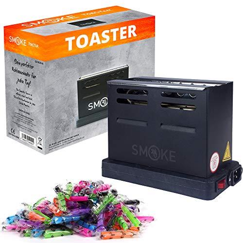 Smoke2u® Toaster Schwarz | Elektrischer Shisha Kohleanzünder mit Griff Gitterschutz | 800W Heater | 100 Hygiene Mundstücke | Dreiseitiges-Hitzesystem | Fertige Kohle unter 6 Minuten