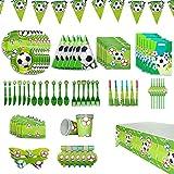 Amycute 90-teiliges Fußball Party Set Fussball Geburtstag Party Geschirr Set mit Banner, Tellern, Tassen, Servietten, Tischtüchern, Löffel, Gabeln und Messern für 6 Personen.