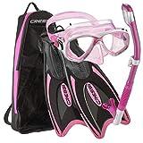 Cressi Palau Long Mask Fin Snorkel Set, Brisbane Pink, Medium/Large