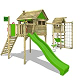 FATMOOSE Stelzenhaus FunFactory Fit XXL Spielturm Kletterturm mit Turmanbau inkl. Holzdach und...