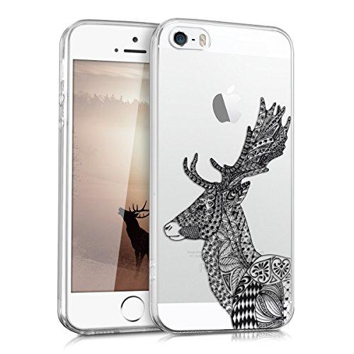 kwmobile Hülle kompatibel mit Apple iPhone SE (1.Gen 2016) / 5 / 5S - Hülle Handy - Handyhülle Hirsch Zeichnung Schwarz Weiß