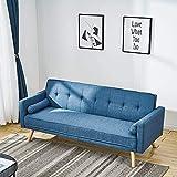 3 Sofá cama Línea tela Sofá Silla Larga Silla Sillón con 2 cojines gratis para sala de estar,Blue
