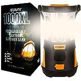 Internova Rechargeable Camping Lantern Power Bank - Massive Brightness Adjustable 360 LED Arc Lighting - Emergency - Backpacking - Construction - Hiking - Auto - Home (Cadmium Orange)