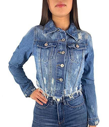 Worldclassca Damen Crop Jeansjacke Jeans Destroyed MIT Rissen Sommer Jacket Vintage KURZ Button Used WASH FRANSEN ÜBERGANGSJACKE Fashion Blogger DENIMWEAR BLAU Denim Cut Out S-XL (S, Blau)