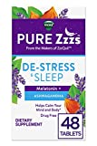 ZzzQuil Pure Zzzs De-Stress & Sleep Melatonin Sleep Aid Tablets, 48 ct, with Ashwagandha, Chamomile, Lavender, & Valerian Root, 1 mg per tablet (Packaging May Vary)