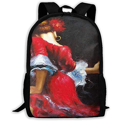 Mochila Portátil Bailarina Española Flamenca Belleza Morena Vestido Rojo Flores Mochila Mochila De Viaje Cremallera Mochila Bolso De Hombro Gimnasio Escolar Mochila De Libros Hombre Mujer Mochil