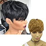 VRZ Short Wavy Human Hair Wigs with Bangs Pixie Cut Wigs for Women 100% Remy Brazilian Hair Natural Blonde Color 30#