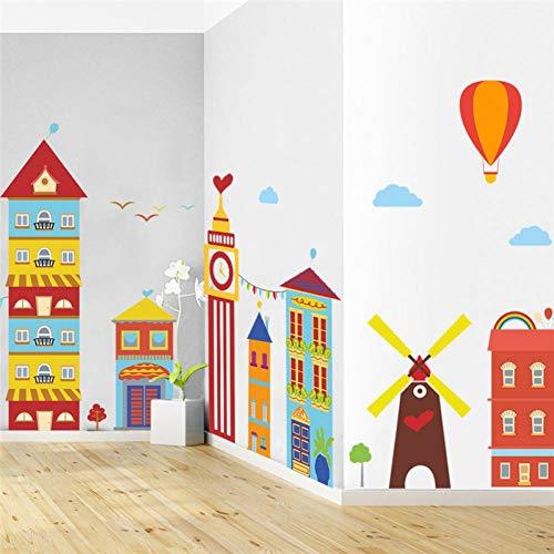 ZPZZPY Muursticker Cartoon Bouwen Hete Luchtballon Molen Muur Stickers voor Kinderen Kamers Raam Home Decor PVC Muurstickers DIY Mural Art Posters